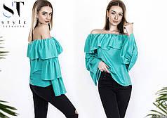 Блуза с волановым рукавом