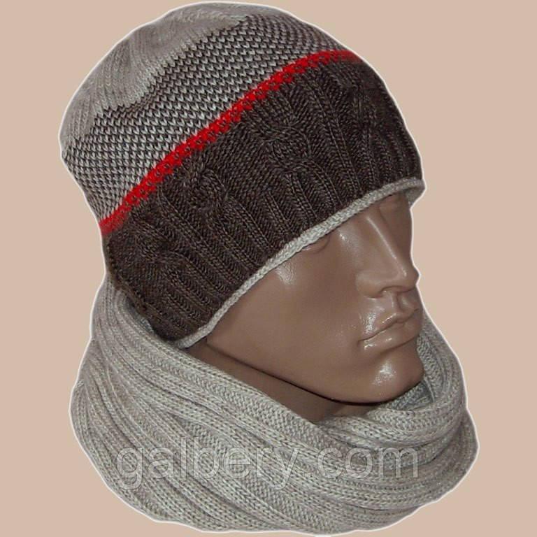 Вязаная мужская шапка и шарф с норвежскими орнаментами