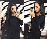 Теплое ангоровое женское платье черное, длинный рукав, фото 1