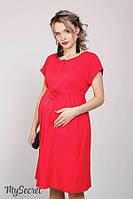 Платье для беременных и кормящих ROSSA, из стрейчевого штапеля, красное 1, фото 1