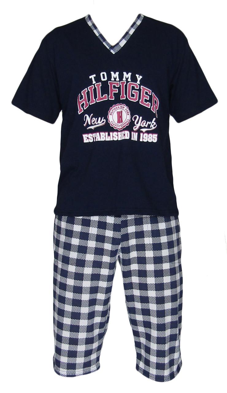 Комплект мужской для сна и дома / пижама / В-00232 Tommy Dark Blue, футболка и бриджи, р.р.42-60
