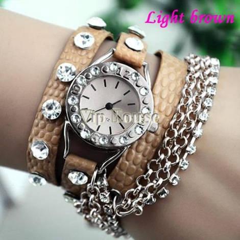 Женские Часы-браслет Ретро стиль светло коричневый цвет