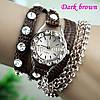 Женские Часы-браслет Ретро стиль темно коричневый цвет
