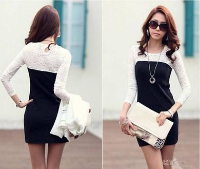Женское платье черно-белое