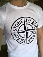 Футболка Stone Island, белая с логотипом, унисекс (мужская, женская, детская)