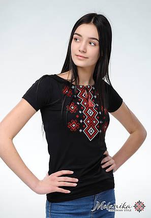 Модна жіноча вишиванка із класичною вишивкою на короткий рукав «Карпатський орнамент (червона вишивка)», фото 2