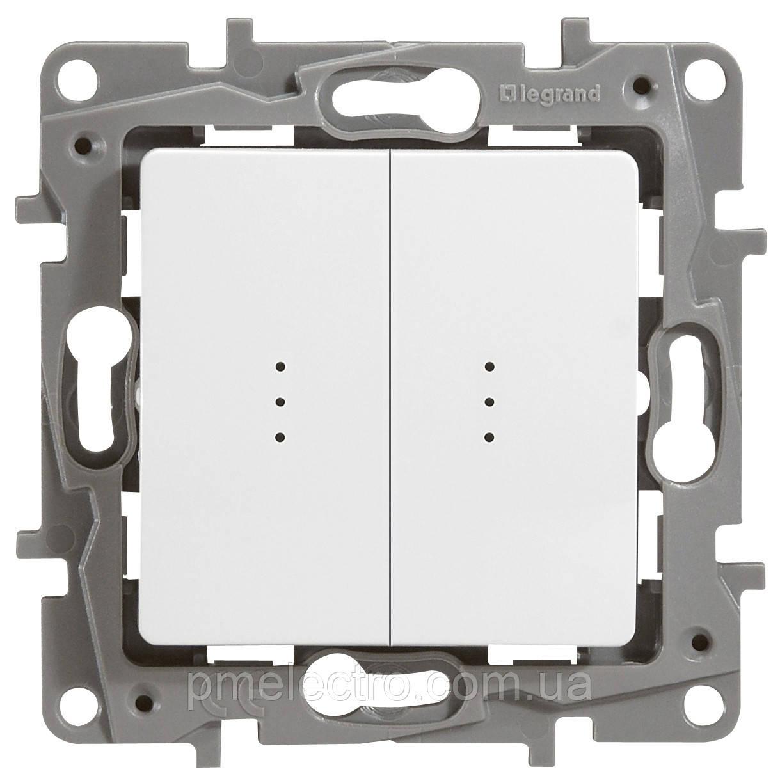 Выключатель/переключатель с подсветкой 2-й Etika белый  672216