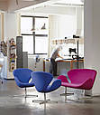 Дизайнерское мягкое кресло Сван, голубое на хромированной основе , фото 6