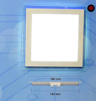 Светодиодный врезной ультратонкий светильник Bellson Glass квадрат (18 Вт, 180х180 мм)
