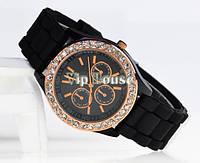 Часы Geneva со стразами черный цвет