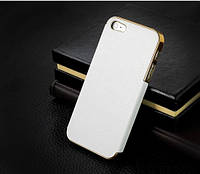 Чехол для iPhone 5/ 5S белого цвета с золотым обрамлением