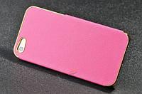Чехол для iPhone 5/ 5S розого цвета с золотым обрамлением