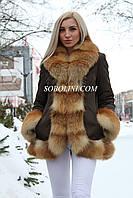 Модна куртка з хутром лисиці вогнівки,плащівка кольору хакі
