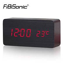 Настольные часы с термометром красная подсветка