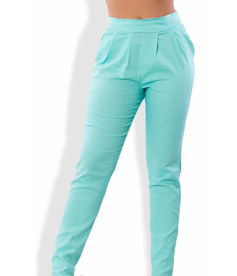 Ментоловые льняные брюки 1285