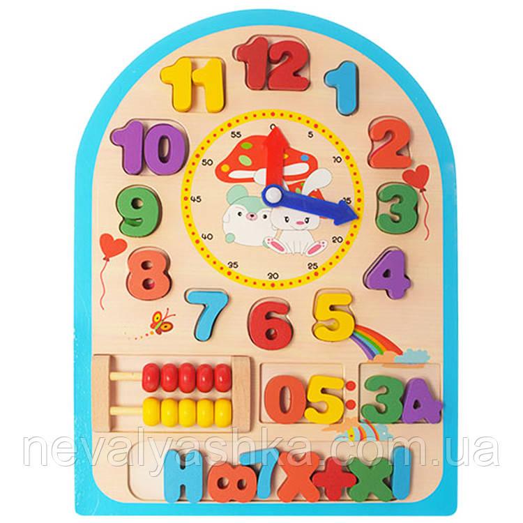 Деревянная игрушка Часы Вкладыш Счёты Цифры, MD 1050, 003976