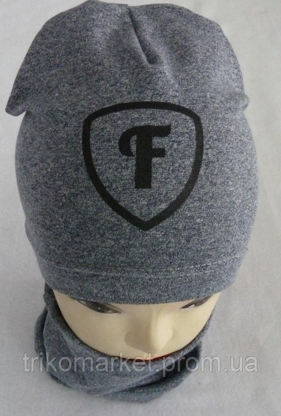 Комплект шапка + хомут для мальчиков м 6048 3-8 лет ca6746356906e