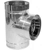 Тройник дымохода двустенный нерж/нерж Версия Люкс 87° D-150/220 толщина 0,8 мм