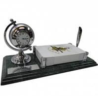 Настольный набор руководителя с часами на мраморной подставке 9126