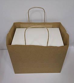 Пакет бумажный крафт для упаковки коробок на 6 капкейков