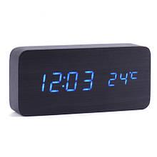 Настольные часы с термометром синяя подсветка