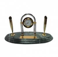 Настольный набор руководителя с часами на мраморной подставке 2103