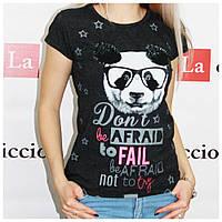 Модная женская футболка, Турция, темно-серая, фото 1