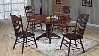 Стол круглый раскладной, 4260 STC - темный орех. Раскладной кухонный стол. Диаметр столешницы 106см.