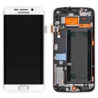 Дисплей Samsung G925F Galaxy S6 EDGE модуль в сборе с тачскрином, белый, с рамкой