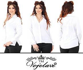 Стильная рубашка креп- сатин (пуговицы потайные) баталы, фото 2