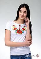 Красива біла жіноча вишита футболка на короткий рукав «Мак і ромашка», фото 1