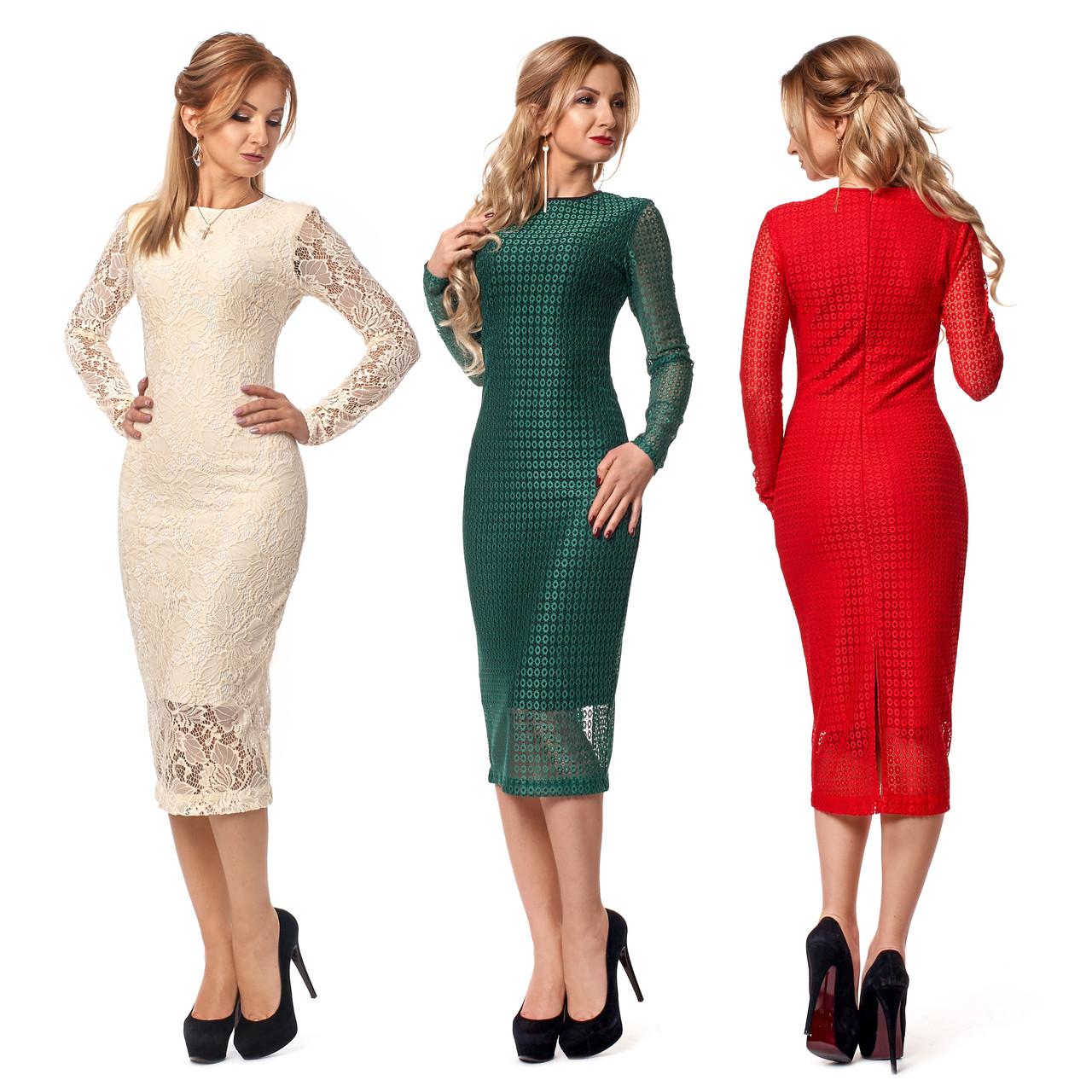 d292fa92f2e Купить Облегающее платье миди из гипюра на подкладке по лучшей цене ...