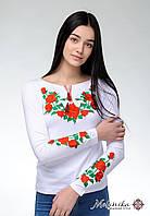 Модна біла жіноча футболка на довгий рукав із вишивкою квітами «Троянда», фото 1