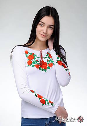 Модная белая женская футболка с длинным рукавом с вышивкой цветами «Роза», фото 2