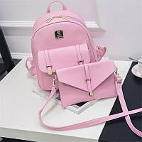 Жіночий рюкзак рожевий набір 3в1 з екошкіри, фото 1