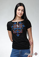 Оригынальна чорна жіноча вишита футболка під джинси на короткий рукав «Елегія», фото 1