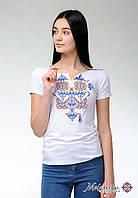 Жіноча футболка на короткий рукав у білому кольорі із оригінальною вишивкою «Елегія», фото 1