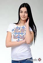 Жіноча футболка на короткий рукав у білому кольорі із оригінальною вишивкою «Елегія», фото 3