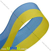 Лента тканевая, Желто-голубая, 30 мм, 1 м (LEN-010236)