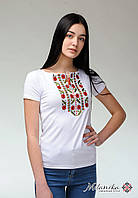 Молодіжна жіноча вишита футболка із рослинним орнаментом «Гармонійна природна експресія», фото 1
