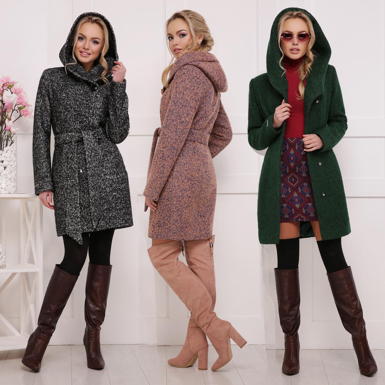 Купить Женское шерстяное приталенное пальто с капюшоном и поясом по ... 7b77de85e898b