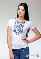 Жіноча повсякденна футболка на короткий рукав із геометричною вишивкою «Блакитна природна експресія», фото 1