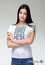 Женская повседневная футболка с коротким рукавом с геометрической вышивкой «Голубая естественная экспрессия», фото 3