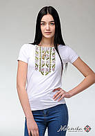 Стильна жіноча літня футболка на короткий рукав із оливковою вишивкою «Природна експресія», фото 1