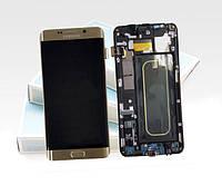 Дисплей модуль Samsung G928 Galaxy S6 EDGE Plus з рамкою в зборі з тачскріном золотистий