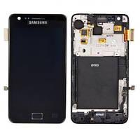 Дисплей модуль Samsung I9100 Galaxy S2 з рамкою в зборі з тачскріном чорний