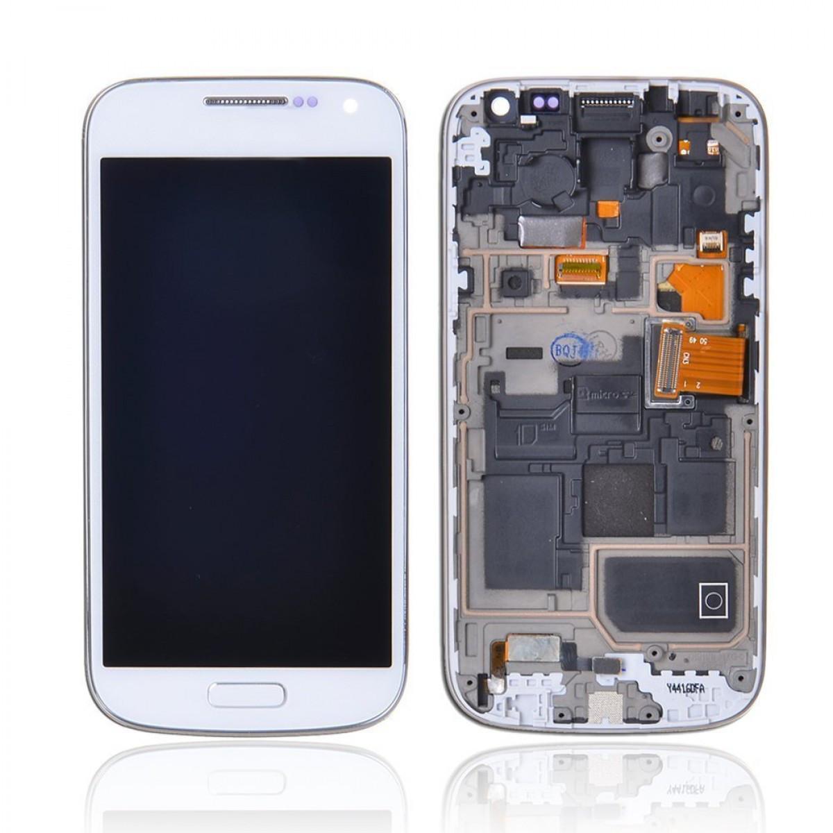 Дисплей модуль I9190 Galaxy S4 mini, I9192 Galaxy S4 Mini Duos, I9195 Galaxy S4 mini в зборі з тачскріном, білий, з рамкою