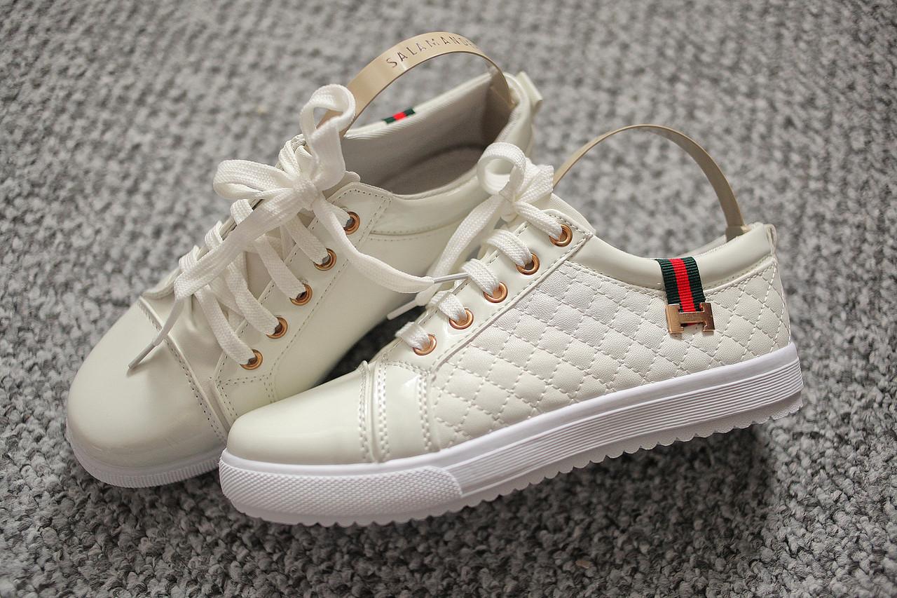 36f69590cec7 Женские брендовые кроссовки лак White Italy белые 37 размер !
