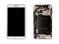 Дисплей модуль Samsung N900 Note 3, N9000 Note в зборі з тачскріном, білий, з рамкою