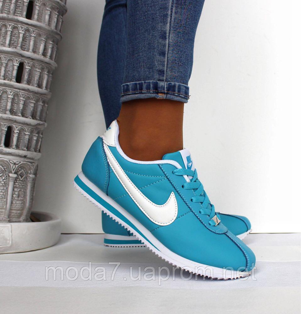 42b1ab45 Кроссовки женские голубые Nike Cortez нат. кожа реплика - Интернет-Магазин